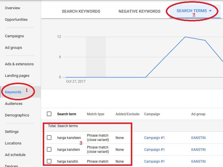 Hasil gambar untuk contoh Search Term pada jasa adwords