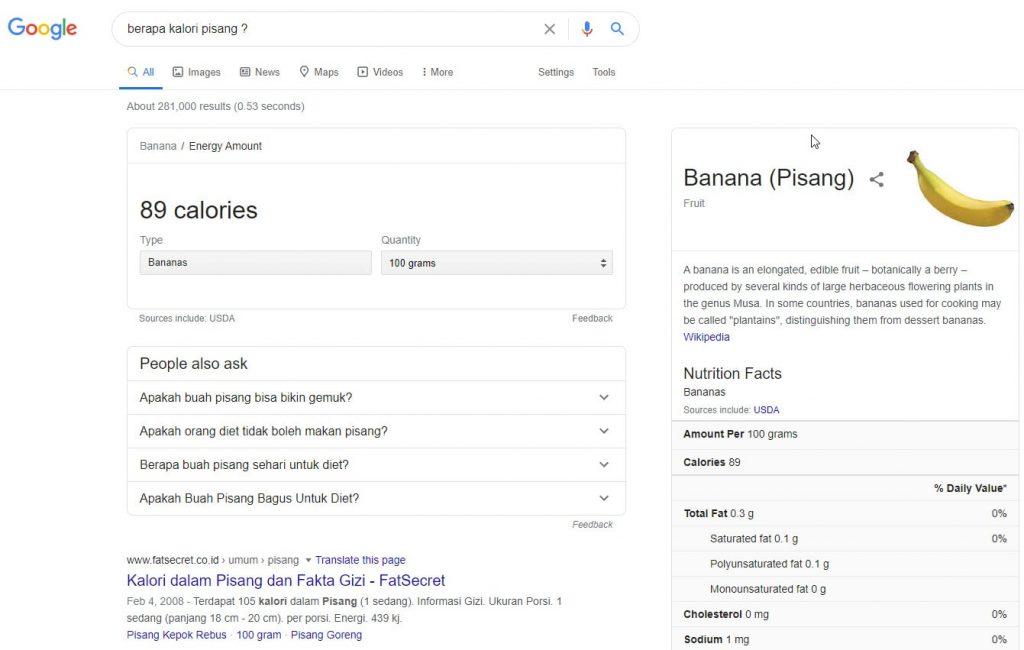 salah satu fitur cuplikan pilihan di mesin pencari