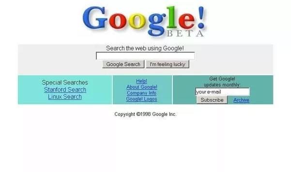 Tampilan Google 1998